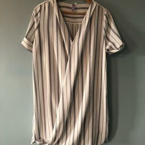 NWOT Francescas white and navy striped dress